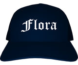 Flora Illinois IL Old English Mens Trucker Hat Cap Navy Blue