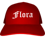 Flora Illinois IL Old English Mens Trucker Hat Cap Red