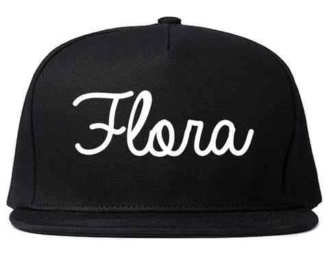 Flora Illinois IL Script Mens Snapback Hat Black