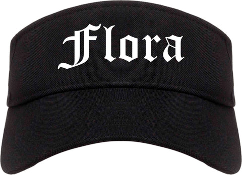 Flora Illinois IL Old English Mens Visor Cap Hat Black