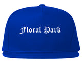 Floral Park New York NY Old English Mens Snapback Hat Royal Blue