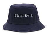 Floral Park New York NY Old English Mens Bucket Hat Navy Blue