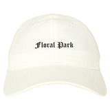Floral Park New York NY Old English Mens Dad Hat Baseball Cap White
