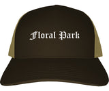 Floral Park New York NY Old English Mens Trucker Hat Cap Brown