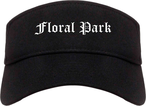 Floral Park New York NY Old English Mens Visor Cap Hat Black