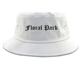 Floral Park New York NY Old English Mens Bucket Hat White