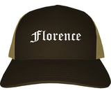 Florence Kentucky KY Old English Mens Trucker Hat Cap Brown