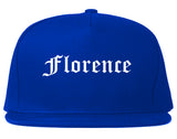 Florence Oregon OR Old English Mens Snapback Hat Royal Blue