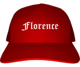 Florence Oregon OR Old English Mens Trucker Hat Cap Red