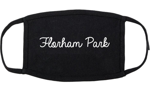 Florham Park New Jersey NJ Script Cotton Face Mask Black
