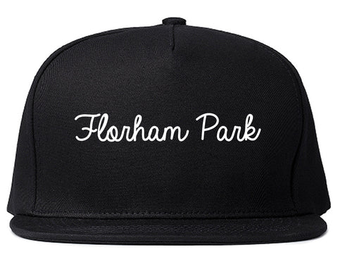 Florham Park New Jersey NJ Script Mens Snapback Hat Black