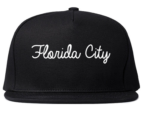 Florida City Florida FL Script Mens Snapback Hat Black