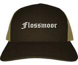 Flossmoor Illinois IL Old English Mens Trucker Hat Cap Brown
