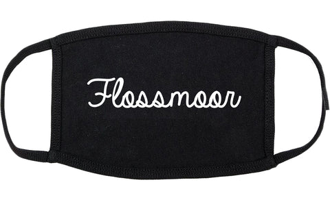 Flossmoor Illinois IL Script Cotton Face Mask Black