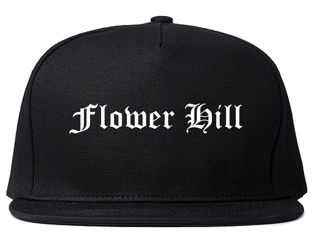 Flower Hill New York NY Old English Mens Snapback Hat Black