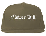 Flower Hill New York NY Old English Mens Snapback Hat Grey
