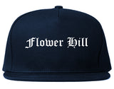 Flower Hill New York NY Old English Mens Snapback Hat Navy Blue