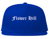 Flower Hill New York NY Old English Mens Snapback Hat Royal Blue