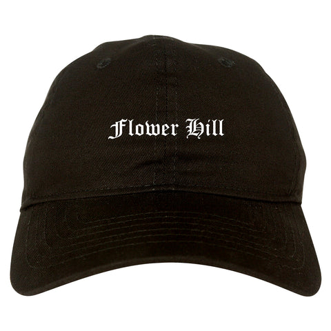 Flower Hill New York NY Old English Mens Dad Hat Baseball Cap Black