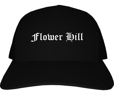 Flower Hill New York NY Old English Mens Trucker Hat Cap Black