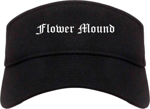 Flower Mound Texas TX Old English Mens Visor Cap Hat Black