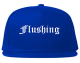 Flushing Michigan MI Old English Mens Snapback Hat Royal Blue
