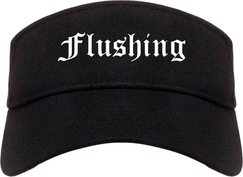 Flushing Michigan MI Old English Mens Visor Cap Hat Black