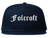 Folcroft Pennsylvania PA Old English Mens Snapback Hat Navy Blue