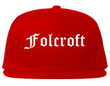 Folcroft Pennsylvania PA Old English Mens Snapback Hat Red