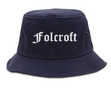 Folcroft Pennsylvania PA Old English Mens Bucket Hat Navy Blue