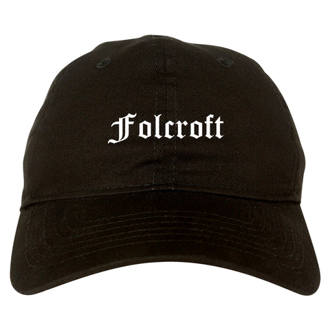 Folcroft Pennsylvania PA Old English Mens Dad Hat Baseball Cap Black