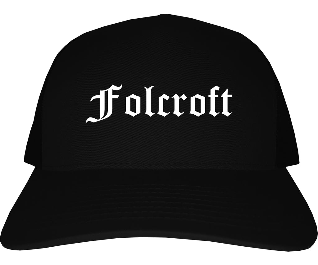 Folcroft Pennsylvania PA Old English Mens Trucker Hat Cap Black