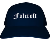 Folcroft Pennsylvania PA Old English Mens Trucker Hat Cap Navy Blue