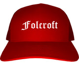 Folcroft Pennsylvania PA Old English Mens Trucker Hat Cap Red