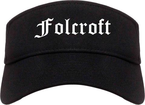 Folcroft Pennsylvania PA Old English Mens Visor Cap Hat Black