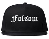 Folsom California CA Old English Mens Snapback Hat Black