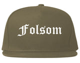 Folsom California CA Old English Mens Snapback Hat Grey