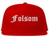 Folsom California CA Old English Mens Snapback Hat Red