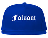 Folsom California CA Old English Mens Snapback Hat Royal Blue