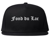 Fond du Lac Wisconsin WI Old English Mens Snapback Hat Black