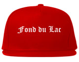 Fond du Lac Wisconsin WI Old English Mens Snapback Hat Red
