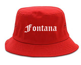 Fontana California CA Old English Mens Bucket Hat Red