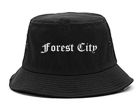 Forest City North Carolina NC Old English Mens Bucket Hat Black