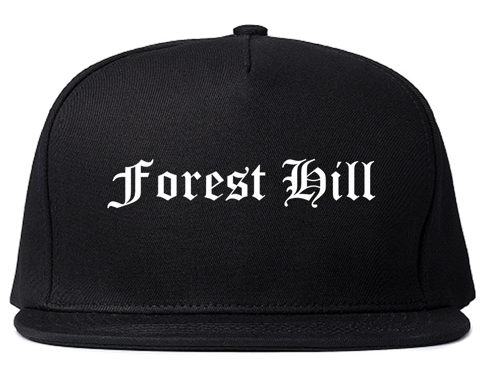 Forest Hill Texas TX Old English Mens Snapback Hat Black