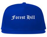Forest Hill Texas TX Old English Mens Snapback Hat Royal Blue
