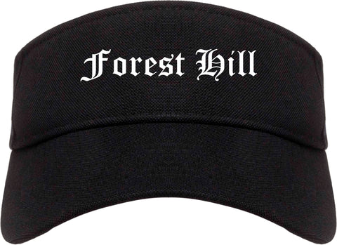 Forest Hill Texas TX Old English Mens Visor Cap Hat Black