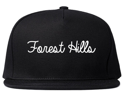Forest Hills Pennsylvania PA Script Mens Snapback Hat Black