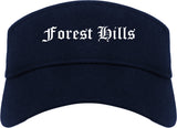 Forest Hills Pennsylvania PA Old English Mens Visor Cap Hat Navy Blue