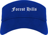 Forest Hills Pennsylvania PA Old English Mens Visor Cap Hat Royal Blue