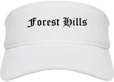 Forest Hills Pennsylvania PA Old English Mens Visor Cap Hat White